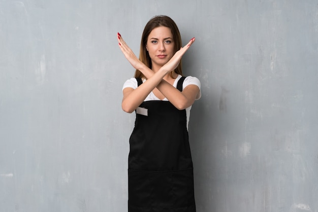Employee woman making no gesture
