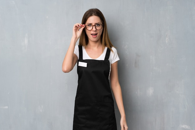 Employee woman with glasses and surprised
