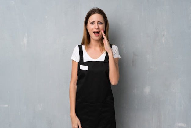 Employee woman with surprise and shocked facial expression