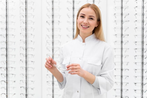 Employee working in store glasses