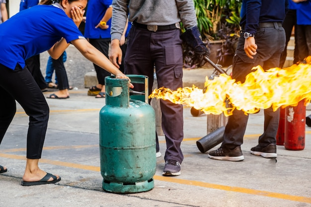 Employees firefighting training