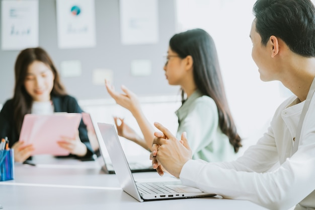 Employees give opinions during the meeting