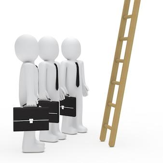 Сотрудники с деревянной лестницей