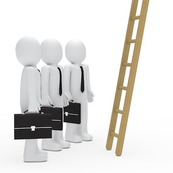 Employees with a wooden ladder