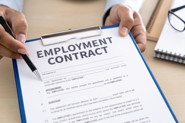 Employment contract signing job deal recruitment concept