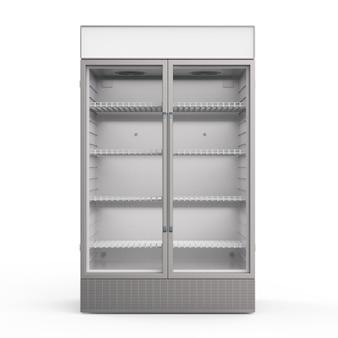 투명한 유리문이 있는 빈 상업용 냉장고