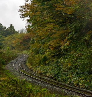 Emptey steam locomotive track fukushima japan
