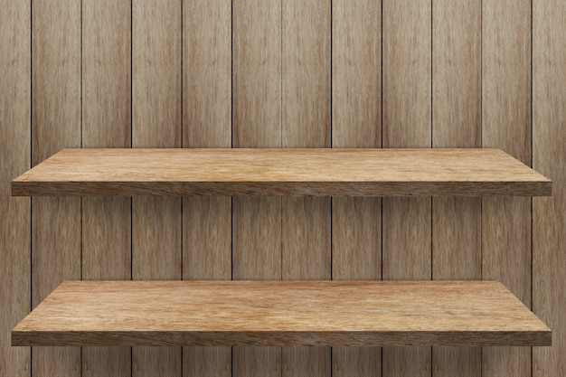 Empty 2 shelf at wooden wall background,template mock up for product