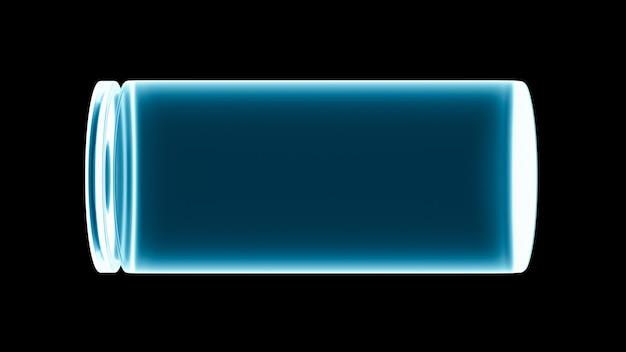 검정색 배경에 빈 3d 배터리 그림, 빈 스마트폰 장치 배터리 상태 아이콘, 전력 및 에너지 기술 위기 개념