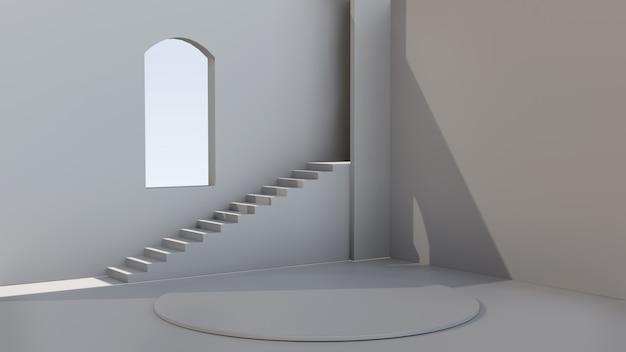 Пустой 3d интерьер комнаты с окном и лестницей