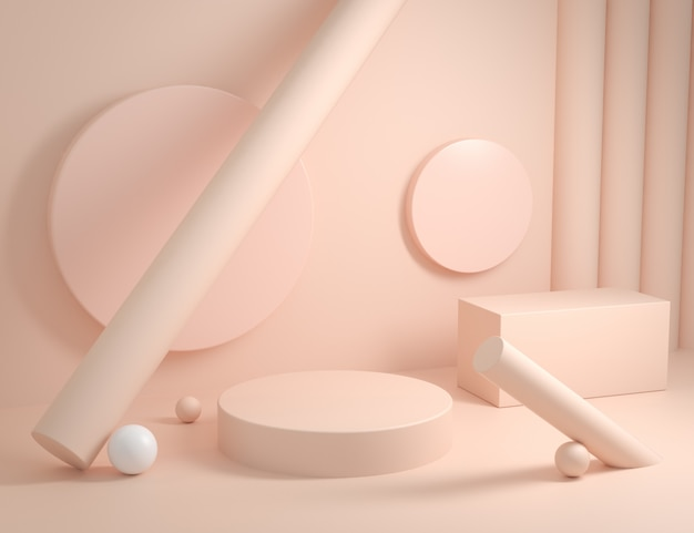 Empty abstract geometric podium with cream color 3d render