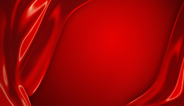赤い絹の波と空の抽象的な赤い背景