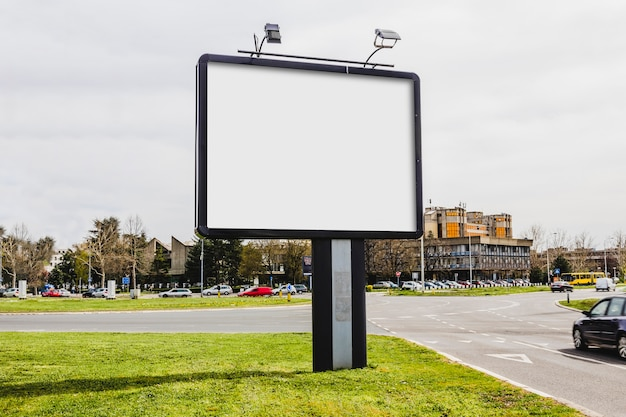An empty advertising billboard in the city