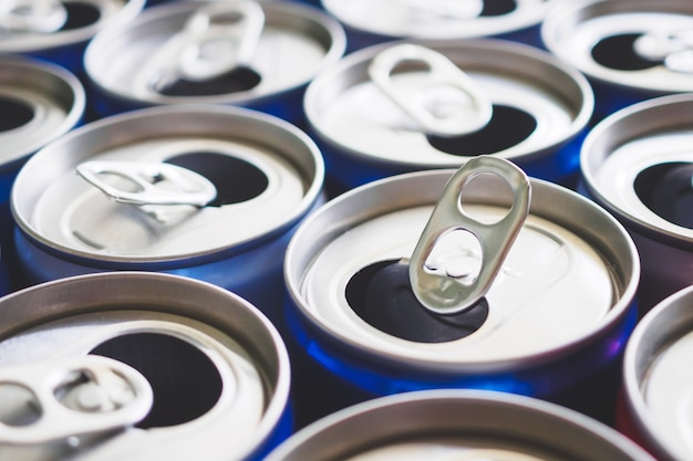 Empty aluminium drink cans recycling concept