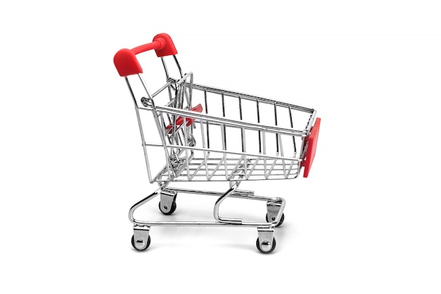 Empty aluminum shopping trolley on a white background