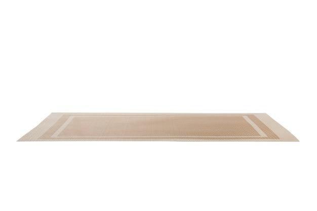Пустая азиатская предпосылка еды. разместить коврик на деревянном фоне в перспективе с копией пространства.