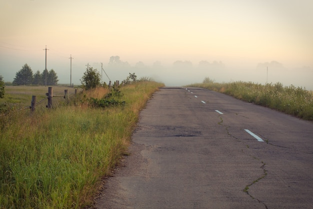 Empty asphalt country side road at summer day