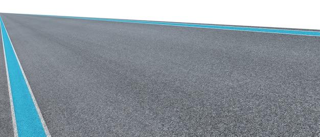Пустая асфальтовая международная гоночная трасса изолирована на белом фоне с обтравочным контуром