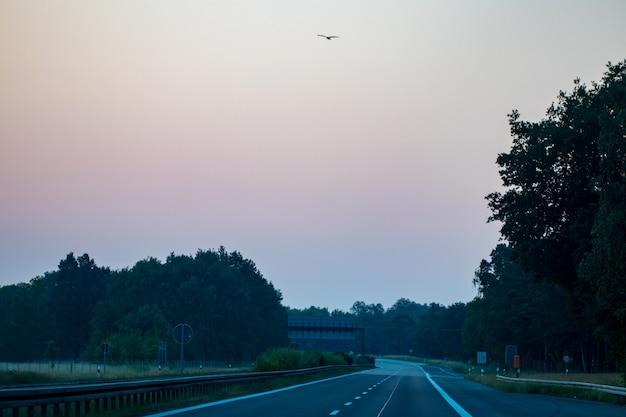 Пустая асфальтовая дорога и поле и голубое небо с облаками.
