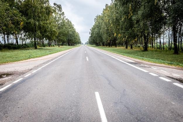 落葉樹の夏の森に囲まれた空のアスファルト道路