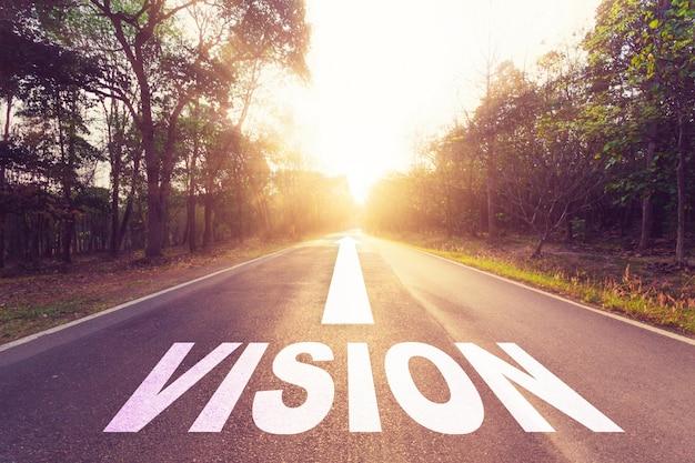 Empty asphalt road and vision concept.