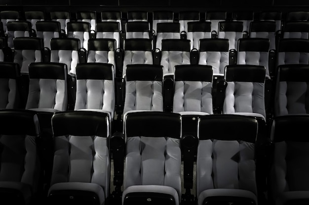 Empty auditorium in the cinema with comfortable seats