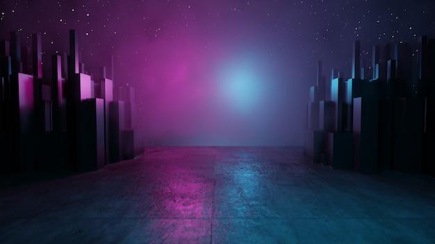 빈 배경 장면입니다. 어두운 거리, 젖은 포장도로에 파란색과 분홍색 네온 불빛이 반사됩니다. 3d 그림 렌더링입니다.
