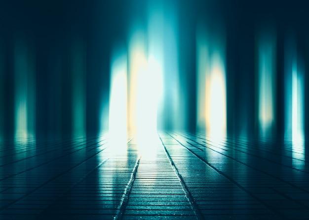 Пустая фоновая сцена. темное отражение улицы на мокром асфальте. лучи неонового света в темноте, неоновые фигуры, дым. фон пустого сценического шоу. абстрактный темный фон.