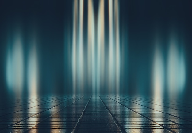 空の背景シーン。濡れたアスファルトの暗い通りの反射。暗いネオンの光線、ネオンの数字、煙。空のステージショーの背景。抽象的な暗い背景。