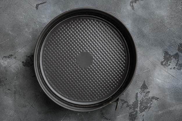 파이 세트용 빈 베이킹 트레이, 텍스트 또는 음식 복사 공간, 텍스트 또는 음식 복사 공간, 위쪽 뷰 플랫 레이, 회색 석재 테이블 배경