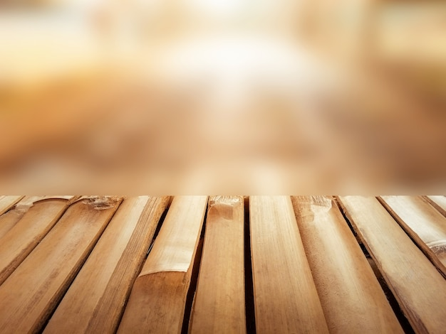 Empty bamboo with beautiful warm blurred background with copy space for display product or montage
