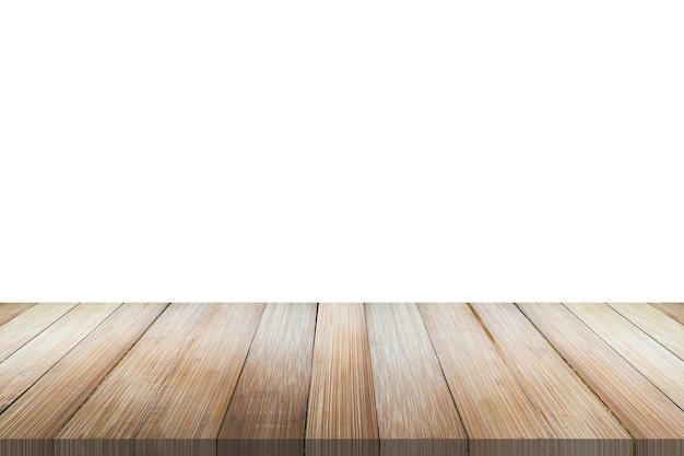 Пустая бамбуковая деревянная столешница на белом фоне для монтажа дисплея продукта