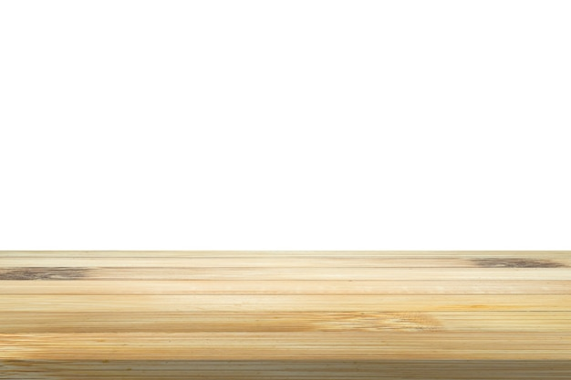 Empty bamboo wood table top isolated on white background for product display montage