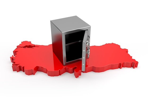 An empty bank safe standing on the 3d map of turkey. 3d rendering