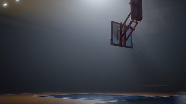 光の中で空のバスケットボールコート。スポーツアリーナ。 3dレンダリングの背景