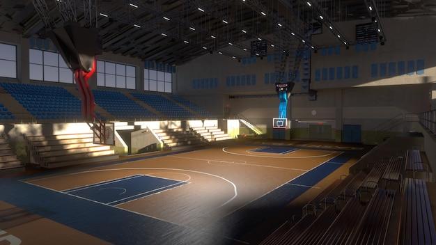 日光の下で空のバスケットボールコート。スポーツアリーナ。 3dレンダリングの背景
