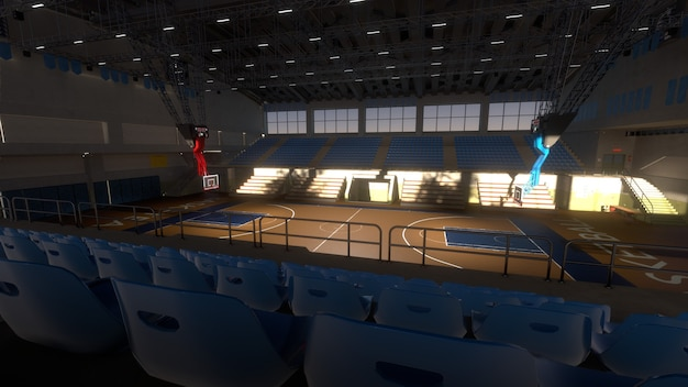 Пустая баскетбольная площадка в солнечном свете. спортивная арена. 3d визуализация фона