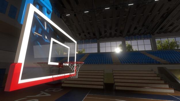 日光の下で空のバスケットボールコート。スポーツアリーナ。バスケットボールのバックボード。 3dレンダリングの背景