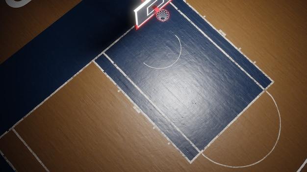 空のバスケットボールコート。スポーツアリーナ。 3dレンダリングの背景
