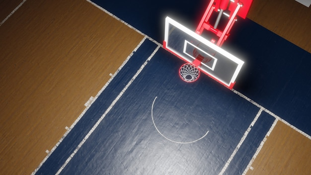 空のバスケットボールコート。スポーツアリーナ。バスケットボールのバックボード。 3dレンダリングの背景