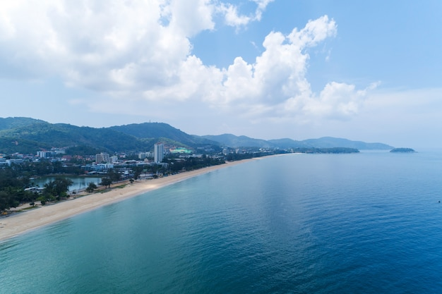 Empty beach at karon beach phuket thailand in may 1- 2020 beach closed during the covid-19 outbreak.