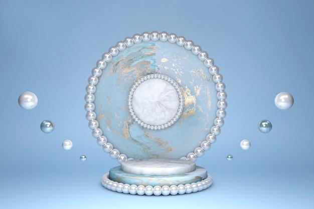 空の美しい青い大理石のシリンダー表彰台、金の大理石のパターンと真珠の装飾の境界線と青いパステルカラーの背景の円。