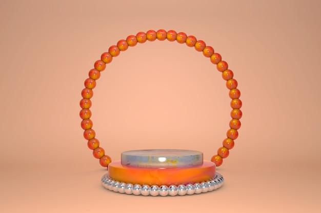 Пустой красивый подиум цилиндра с ярким мраморным оранжевым и серебряным узором и жемчужным украшением границы и круг на пастельном фоне.