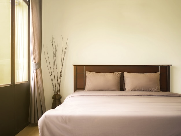 Empty bed in luxury and natural bedroom