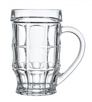 Empty beer glass on white background