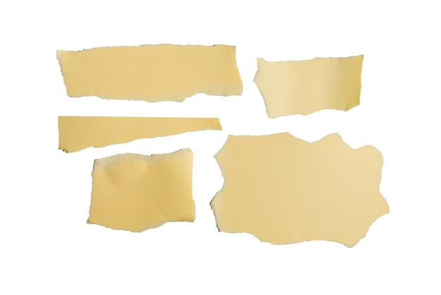 Empty beige paper pieces isolated. space for text or design.