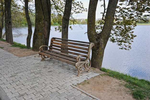 Empty bench by the water