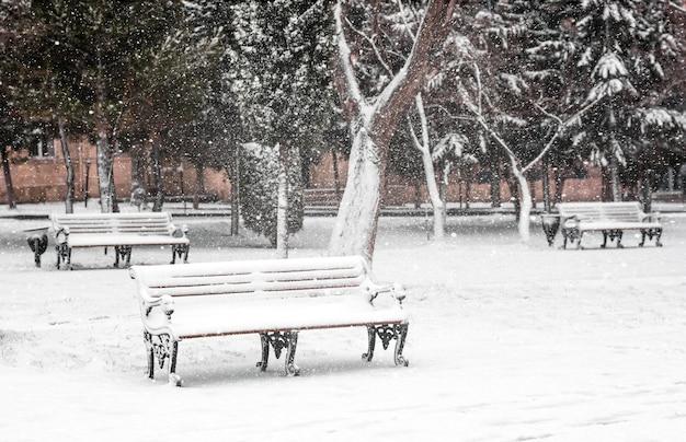 雪に覆われた公園の空のベンチ