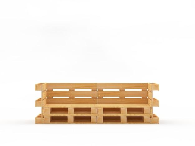 Пустая скамейка или кровать из деревянных поддонов Premium Фотографии