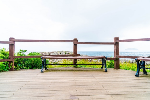 Empty bench at seaseom park in jeju island